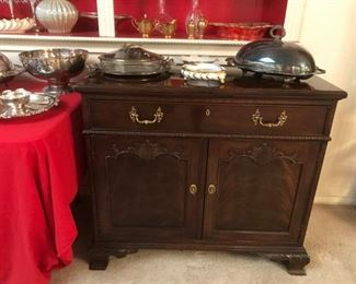 Antique folding top mahogany server.