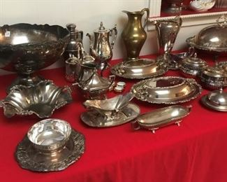 Large Collection of vintage silverplated serving pieces