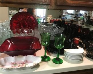 Ruby Red and multi colorful glassware