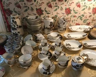 Black white Gold Oriental porcelain china