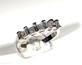 princess cut diamond and 14k white gold band