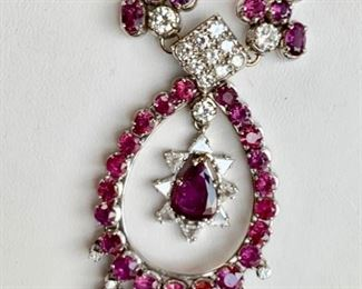 10.5 carat diamond and ruby statement necklace