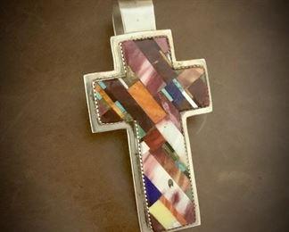Navajo inlay sterling cross