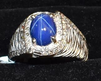 14K White Gold Blue Star Sapphire with 48 Diamonds