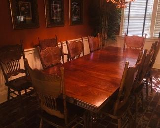 Mint condition 1910  solid Oak kitchen table and  10 chairs