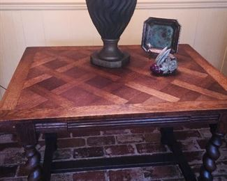 Parquet table with Barley Twist legs