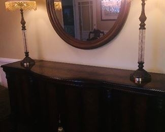 sideboard with mirror and lamps