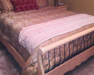light wood queen sleigh bed with like new mattresses