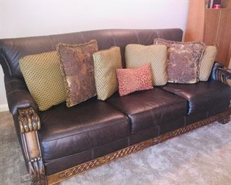 solid leather like brand new sofa