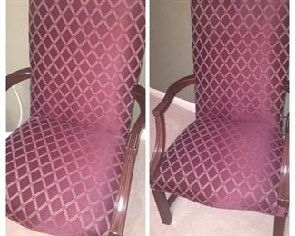 pair of upholstered mint condition arm chairs