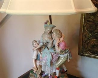 One of two companion vintage figurine lamps