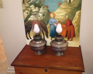 Chest; lamps; oil painting