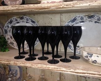 Black transferware and stemware