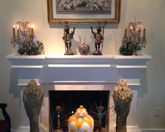 Formal mantel decor