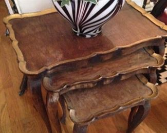 Gilded stacked tray tables; zebra striped accent bowl