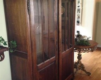 Fabulous antique display cabinet (Crown molding on top is separate.)
