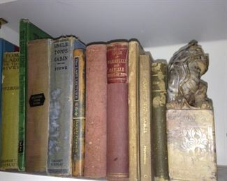 Old books; foo dog bookend