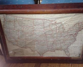 Framed Parcel Post Rate Map of the USA