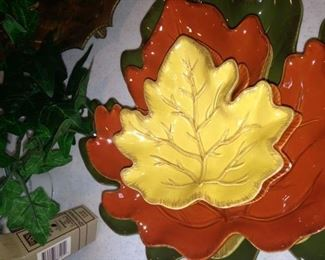 Green, orange, yellow serving dishes - perfect for Fall