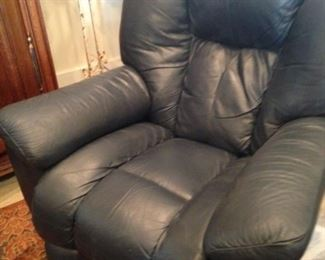 Blue leather recliner