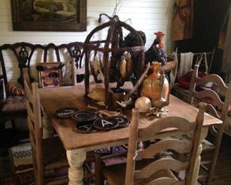 Old farm table and ladder back chairs