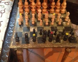 Chess set and table