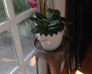 Artificial orchid; metal plant stand