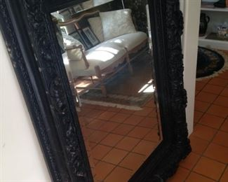 Dark framed  & beveled mirror