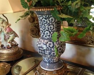 Vintage Chinese blue & white Ormolu vase