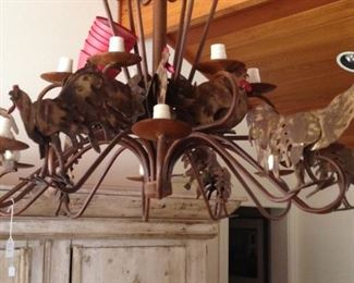 Rooster chandelier (red stacked shades to the left)