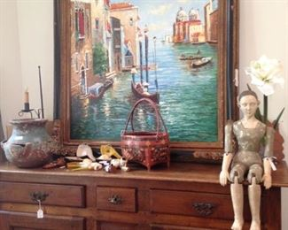 Antique buffet; large Italian scene framed art; Santos (mannequin)