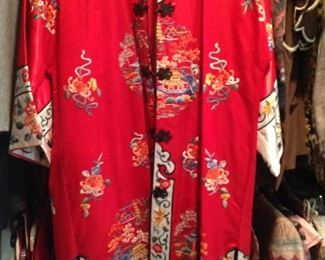 Elegantly embroidered Asian robe
