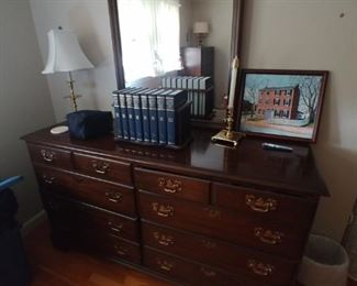 Gorgeous solid Cherry Pennsylvania house chest with mirror $250
