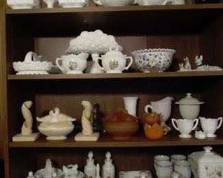 Assortment of Milk Glass collection.
