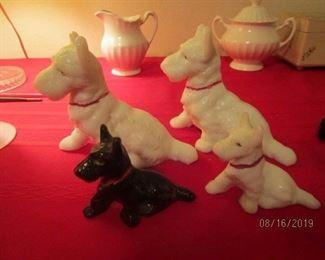 Scottie dogs - milk glass figurines