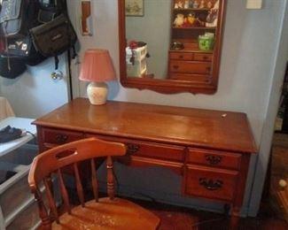 Maple desk, wall mirror, chair