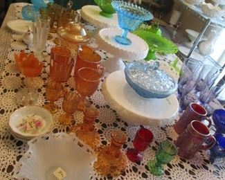 Beautiful Milk Glass Cake plates, Westmoreland and Imperial and colored glass items.
