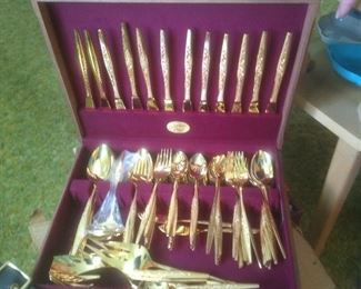 Golden Bouquet set of twelve electroplated flatware. Presale $45