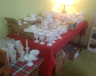 Milk glass galore!!!  Vases, candy dishes, plates, luncheon sets, platters, goblets, candle sticks etc