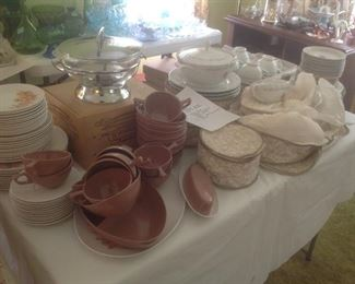 Melmac set plus a full set of china