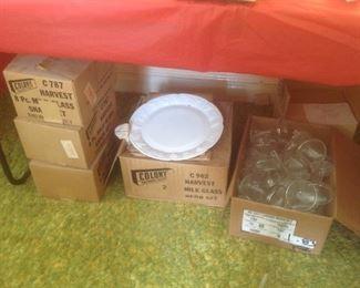 Milkglass sets in original boxes