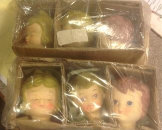 Lee Wards paper mache doll heads....never opened.