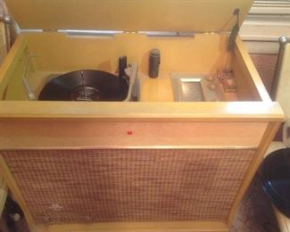 Working vintage record player with radio