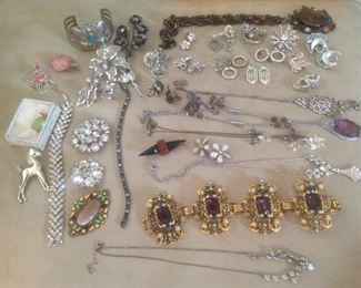 Sample of some of the jewelry....Weiss brooch, Coro, ORA, Kramer of New York, Trifari, Avon pieces