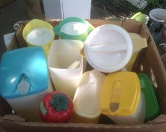 Boxes full of vintage plastic and tupperware