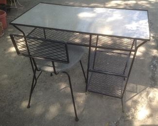 Vintage Formica desk and chair with metal legs......presale...$150