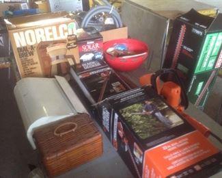 Hedge trimmer, vintage paper towel holder, new coffee pot etc