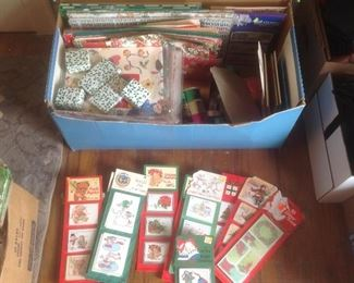 Vintage Christmas tags, boxes, paper, bows