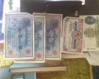 German Reich dollar bills and also 2 from Ireland