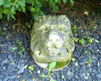 Lion Head Cement Sculpture